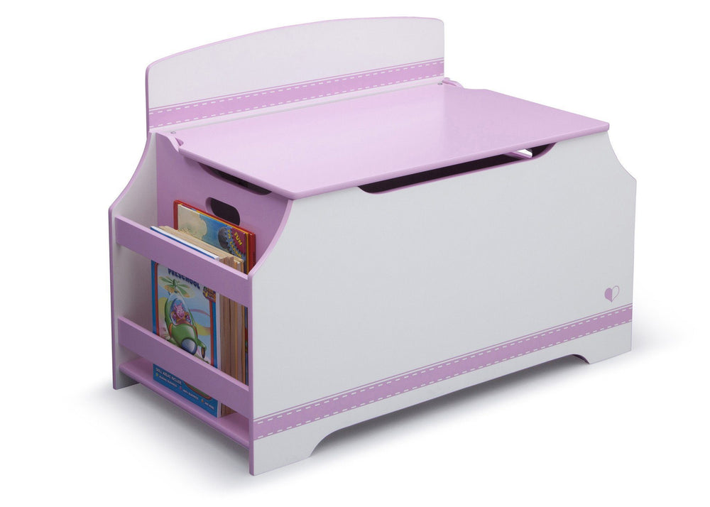 Pink and White Jack and Jill Deluxe Toy Box with Book Rack Style 1, Right View a2a