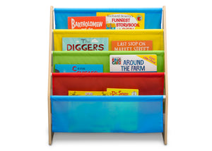 Delta Children Natural/Primary (1189) Sling Book Rack Bookshelf for Kids, Front Silo View with Props Natural and Primary Colors (1189)