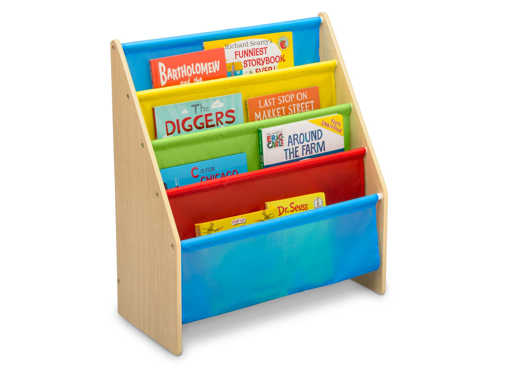 Delta Children Natural/Primary (1189) Sling Book Rack Bookshelf for Kids, Right Silo View with Props Natural and Primary Colors (1189)