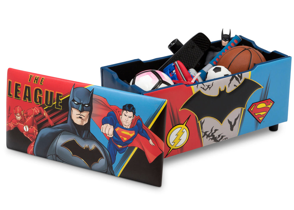 Delta Children Justice League Upholstered Storage Bench for Kids, Right Silo View with Lid Removed
