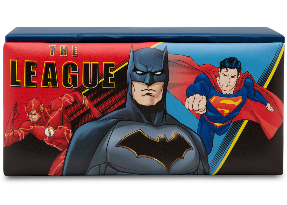 Delta Children Justice League Upholstered Storage Bench for Kids, Rear Silo View
