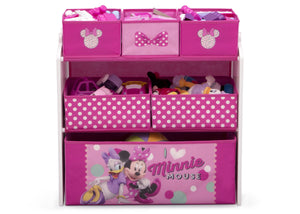 Delta Children Minnie Mouse (1063) Design and Store 6 Bin Toy Organizer, Front Silo View