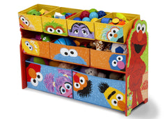 Delta Children Sesame Street Deluxe Multi-Bin Toy Organizer Left View with Props a2a