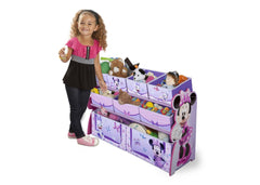 Delta Children Minnie Deluxe Multi-Bin Toy Organizer Left Side View with Props a2a