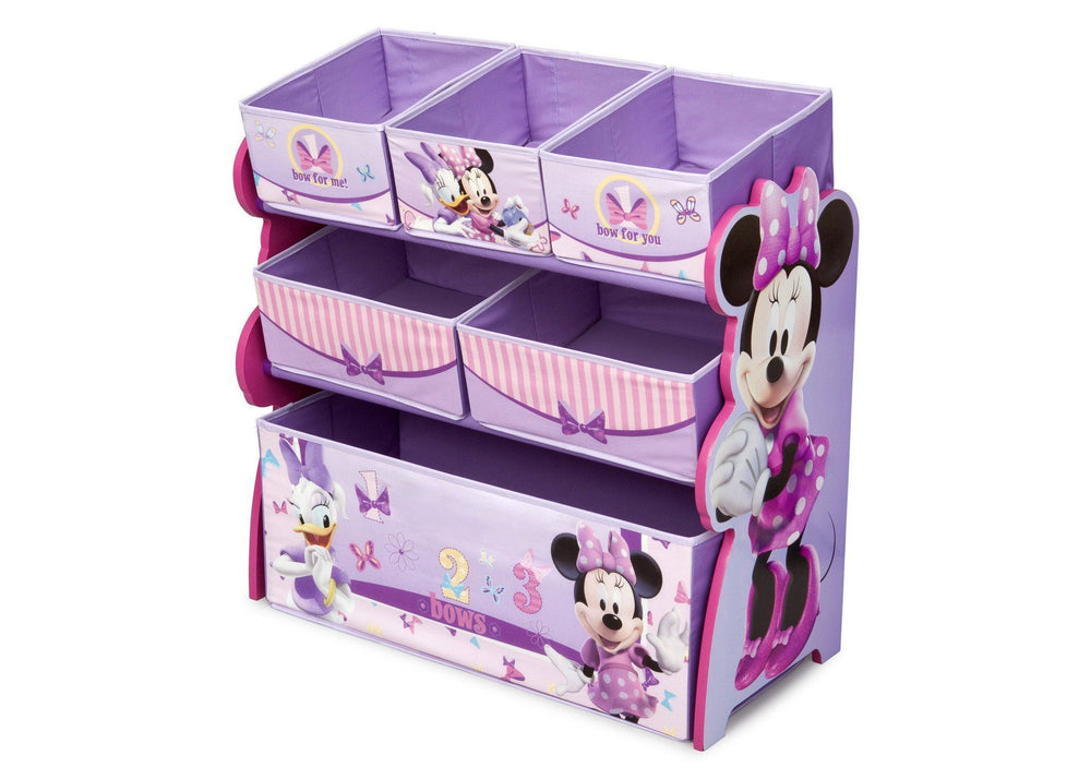 Delta Children Minnie Mouse Multi-Bin Toy Organizer Left Side View a3a