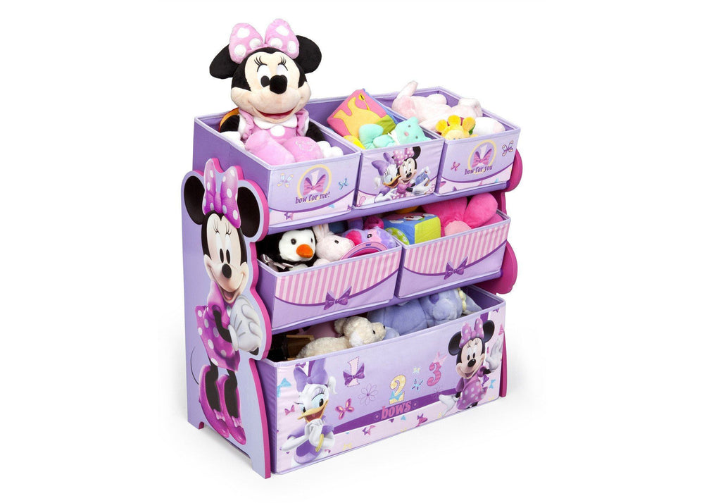 Delta Children Minnie Mouse Multi-Bin Toy Organizer Right Side View with Props 2 a2a