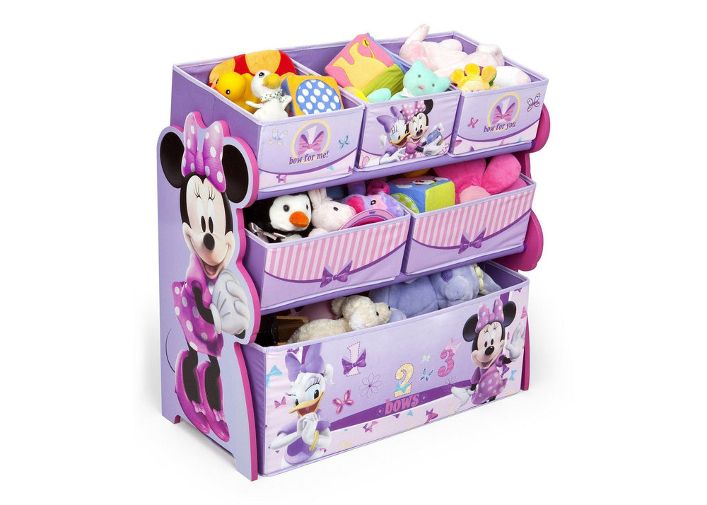 Delta Children Minnie Mouse Multi-Bin Toy Organizer Right Side View with Props