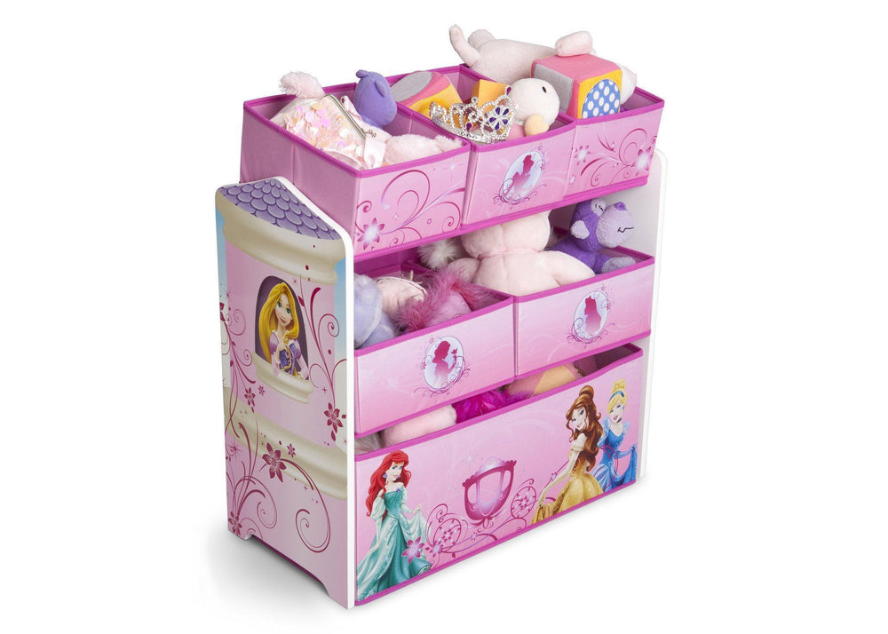 Delta Children Princess Multi-Bin Toy Organizer, Right Side View with Props