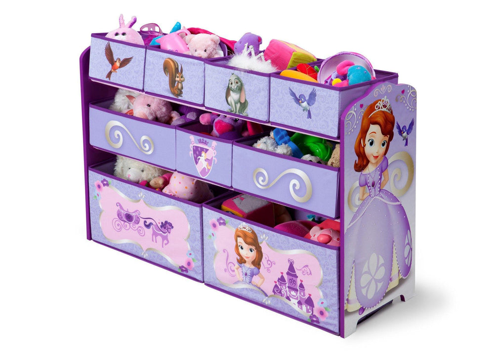 Delta Children Sofia the First Deluxe Multi Bin Toy Organizer left with props