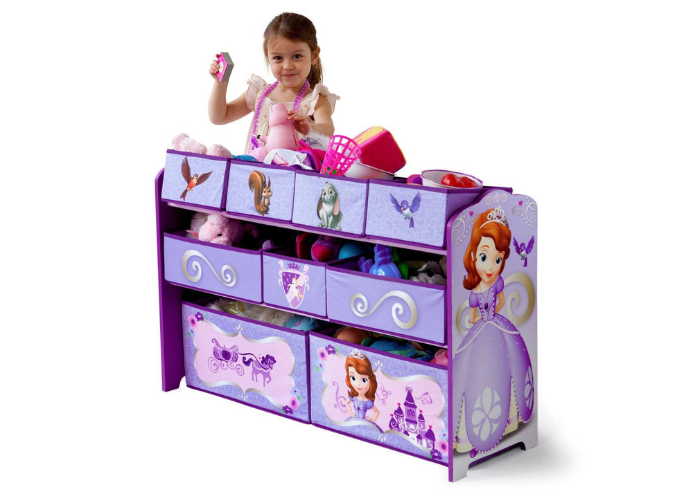 Delta Children Sofia the First Deluxe Multi Bin Toy Organizer with girl a2a