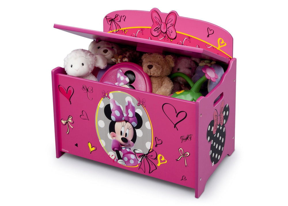 Delta Children Minnie Deluxe Toy Box Left Side View with Props
