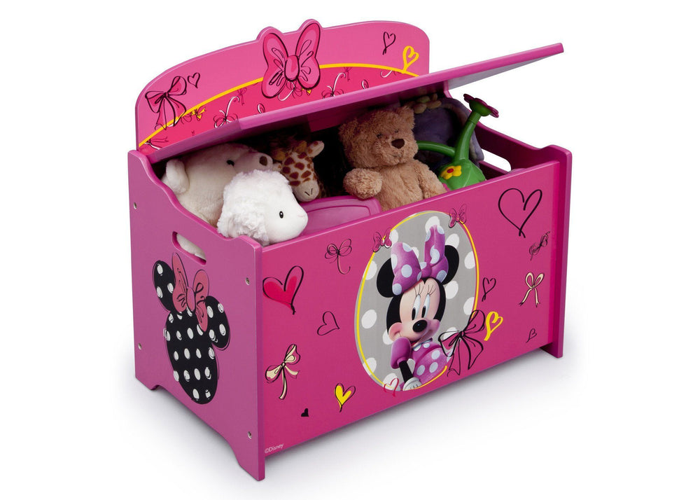 Delta Children Minnie Deluxe Toy Box Right Side View with Props