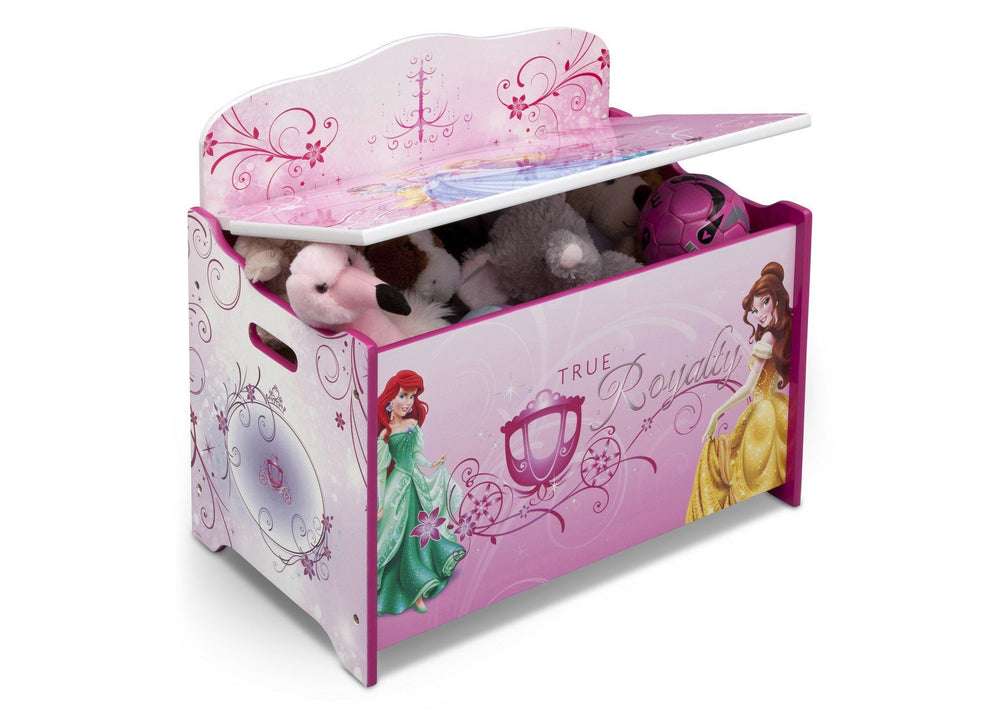Delta Children Princess Deluxe Toy Box Right Side View with Props
