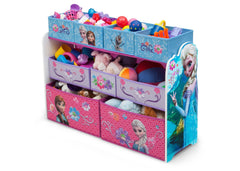 Delta Children Frozen Deluxe Multi-Bin Toy Organizer Left Side View with Props a2a