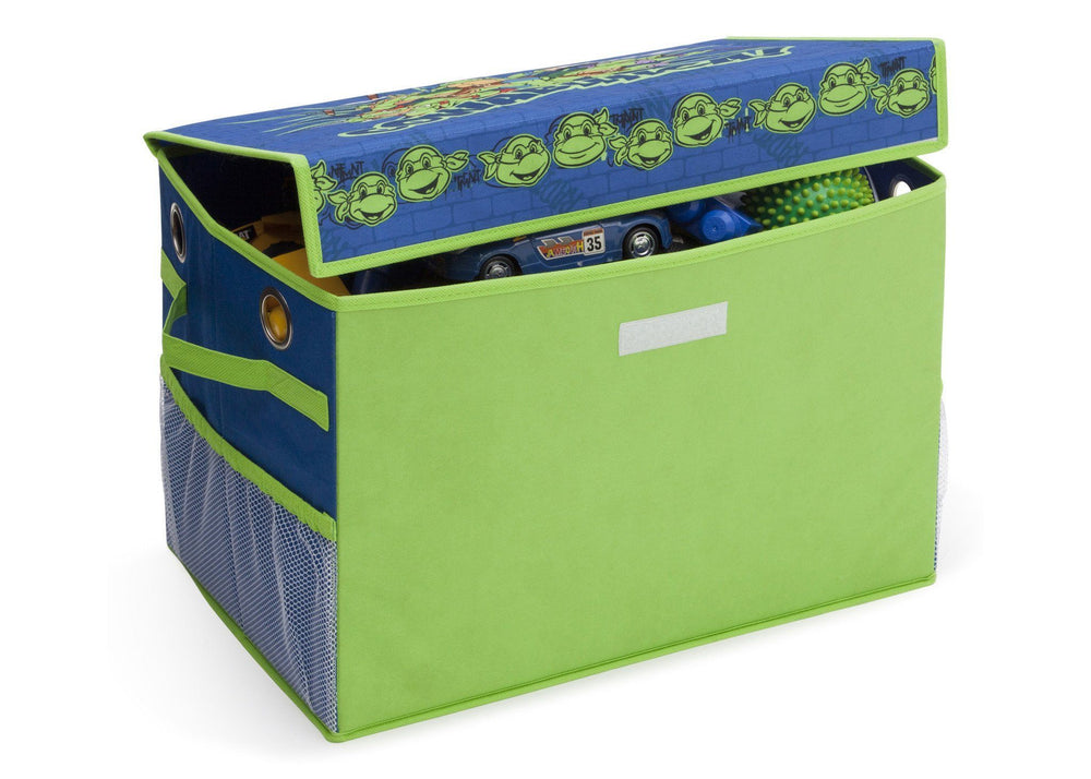 Delta Children Teenage Mutant Ninja Turtles Fabric Toy Box, Left View with Props a4a