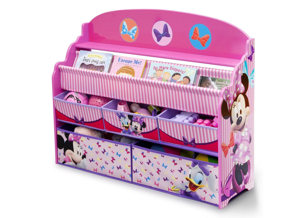Delta Children Minnie Deluxe Book & Toy Organizer Left Side View with Props a2a