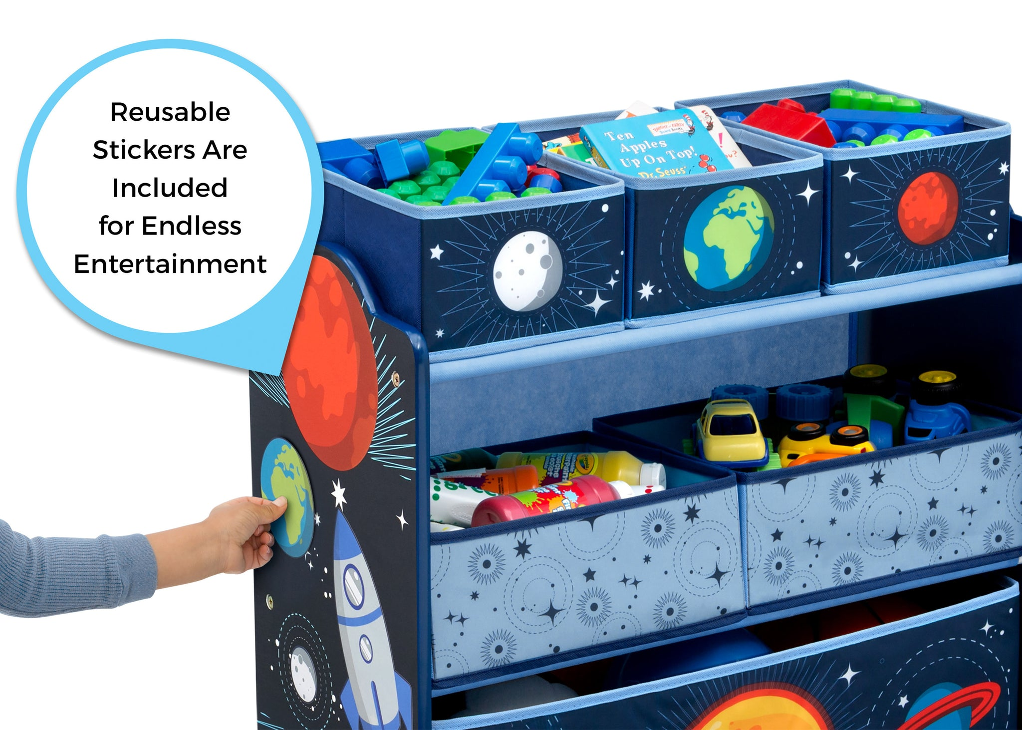 Delta Children Space Adventures (1223) Design and Store Toy Organizer, Reusable Stickers View