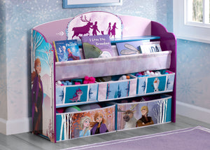 Delta Children Frozen 2 (1097) Deluxe Toy and Book Organizer, Hangtag View