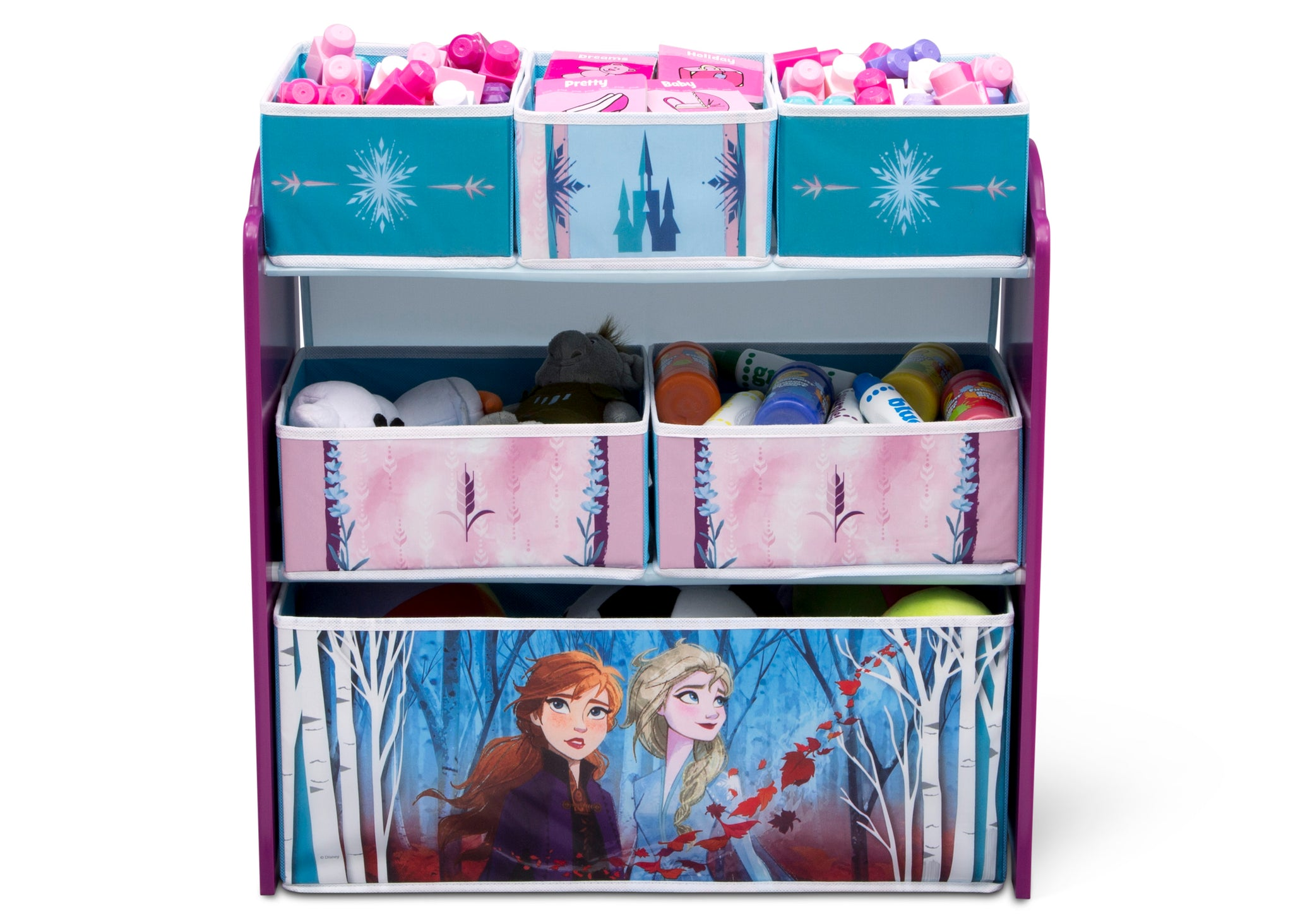 Delta Children Frozen 2 (1097) Design and Store 6 Bin Toy Organizer, Front Silo View