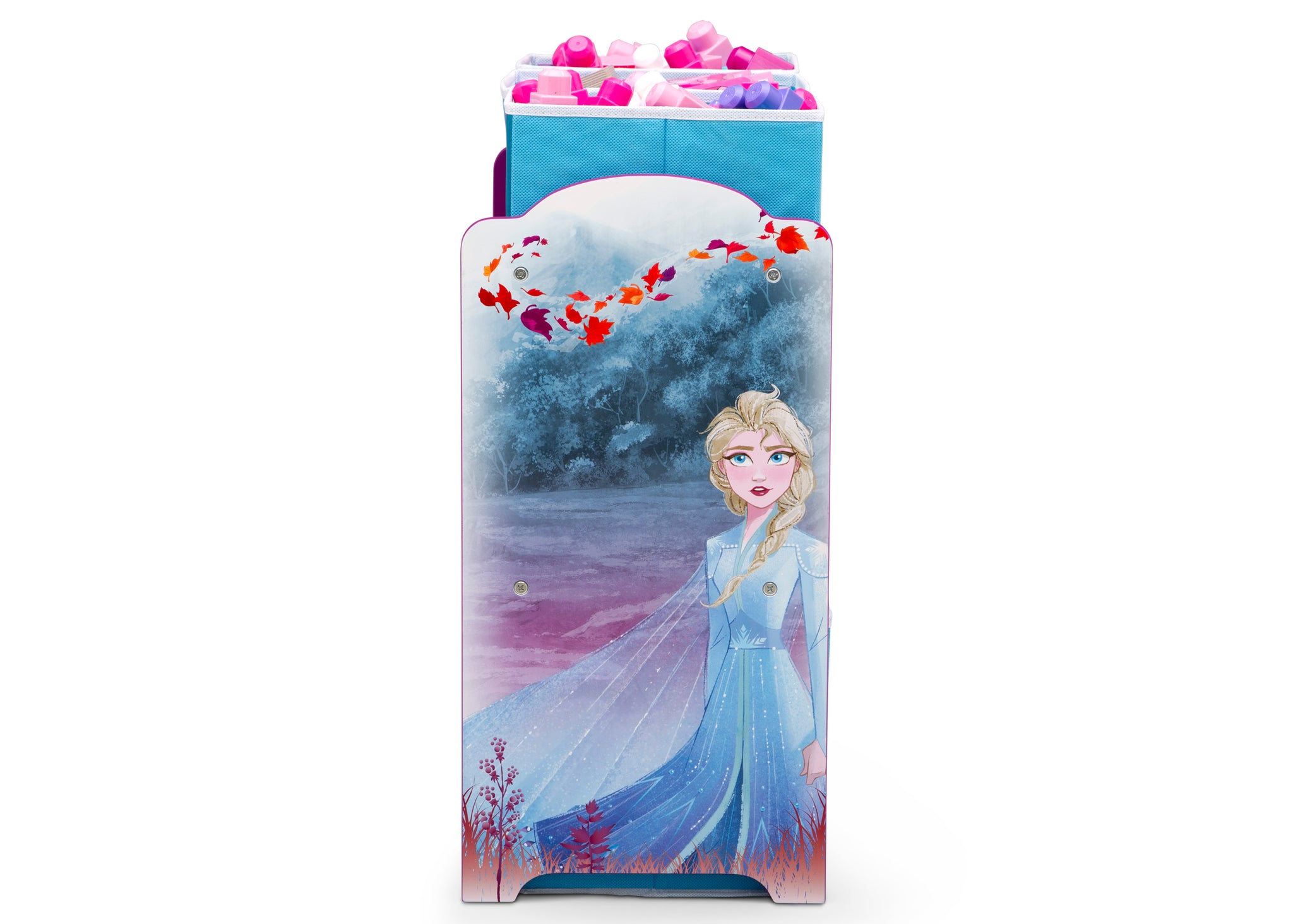 Delta Children Frozen 2 (1097) Design and Store 6 Bin Toy Organizer, Elsa Side View