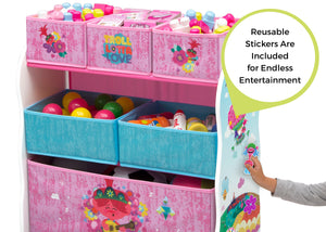 Delta Children Trolls World Tour (1177) Design and Store 6 Bin Toy Organizer, Stickers View