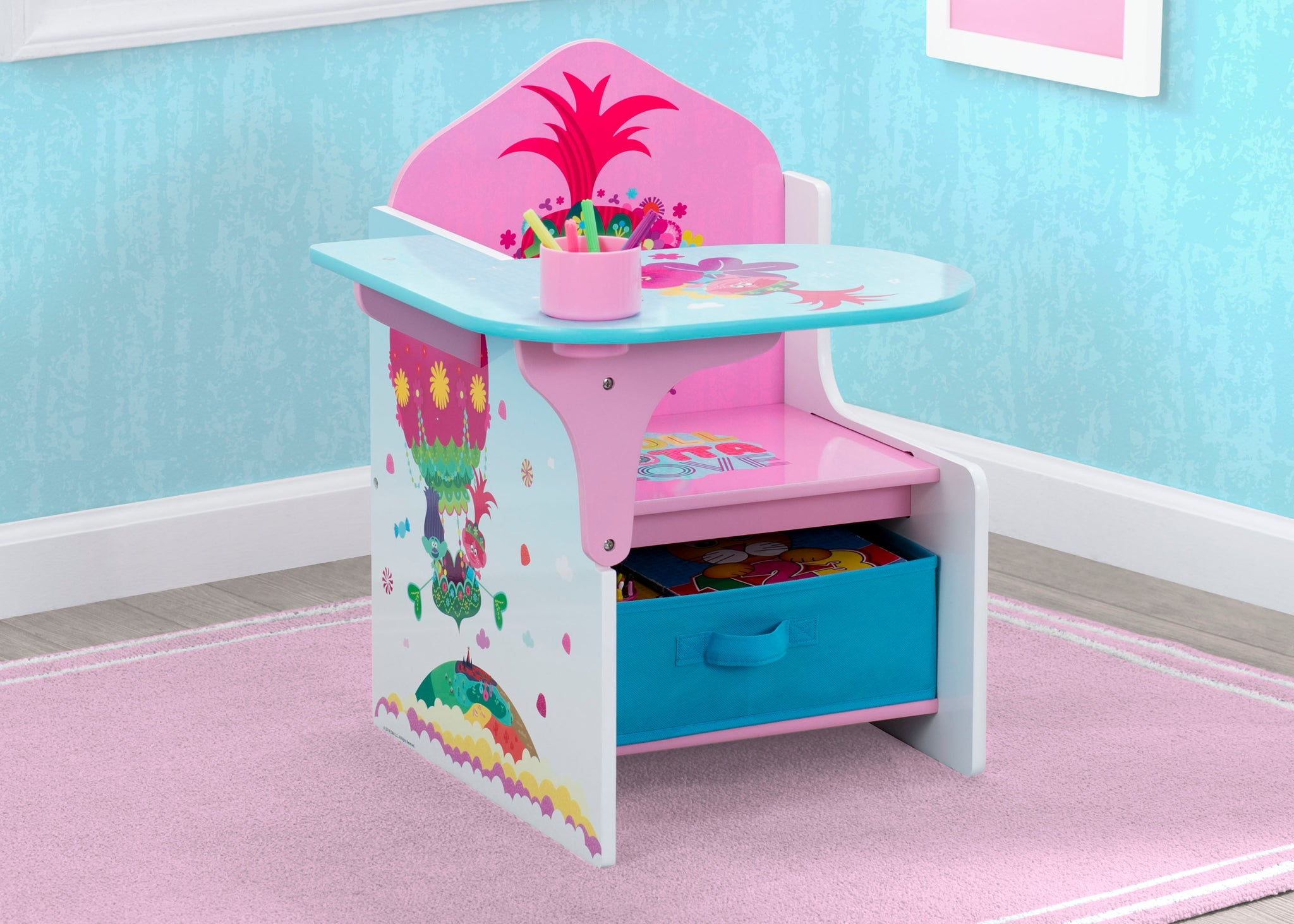 Delta Children Trolls World Tour (1177) Chair Desk with Storage Bin, Hangtag View