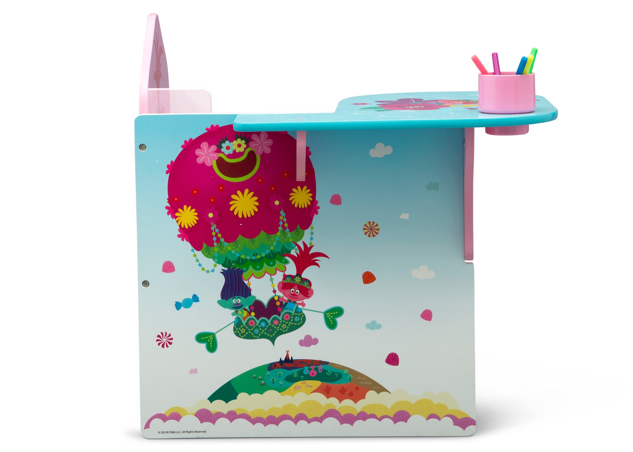 Delta Children Trolls World Tour (1177) Chair Desk with Storage Bin, Right Side View