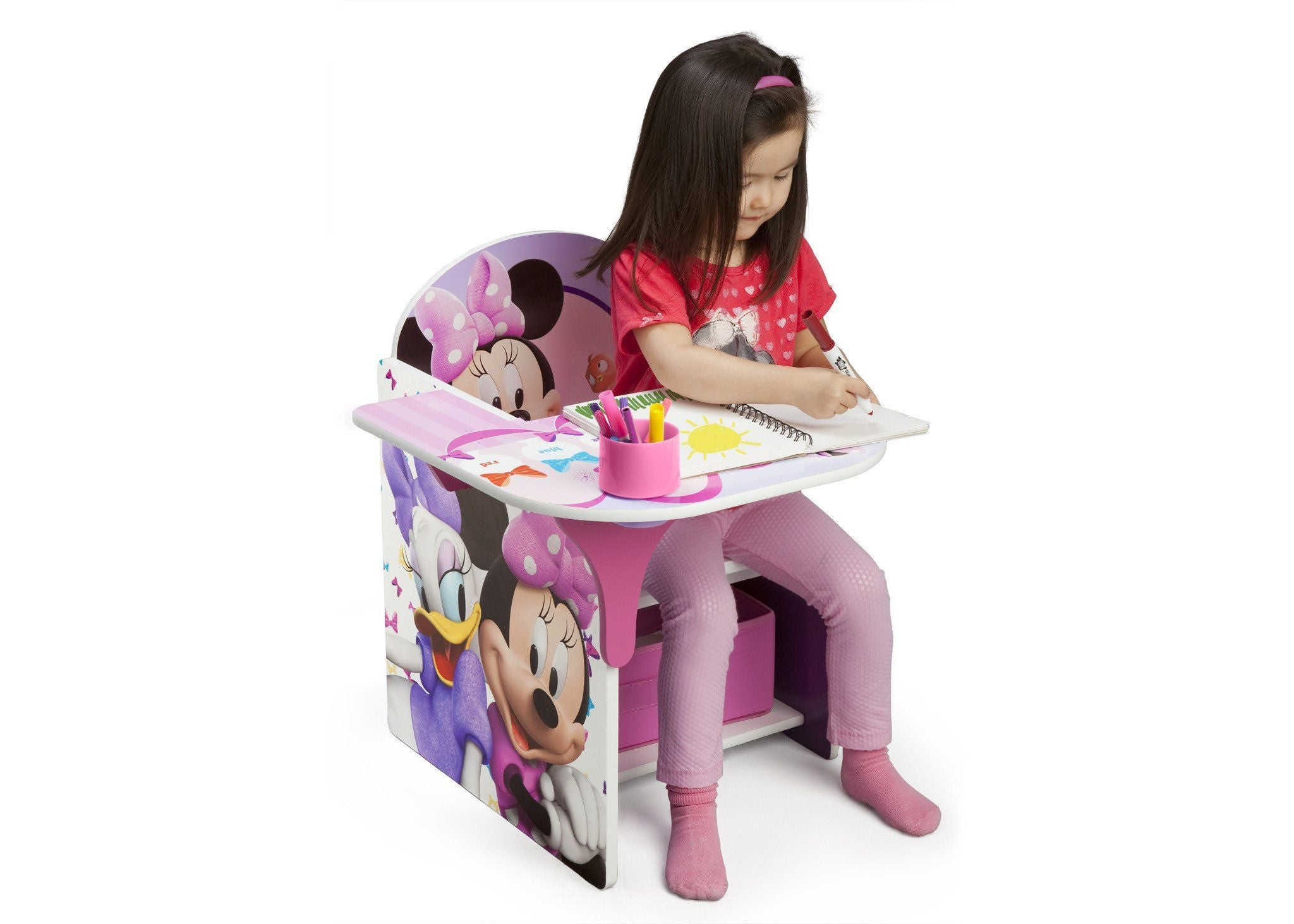 ... Delta Children Minnie Mouse Chair Desk With Storage Bin Right Side View  With Props A3a
