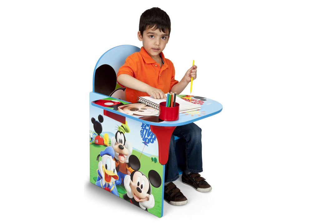 Delta Children Mickey Mouse Chair Desk with Storage Bin Right Side View with Props a3a