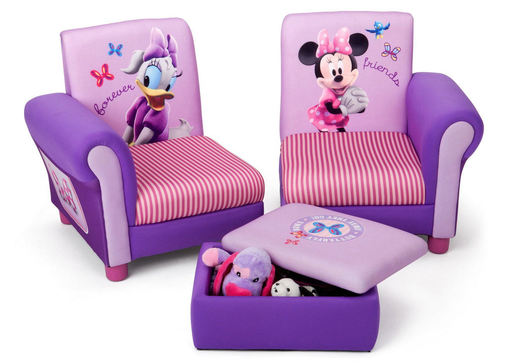 Delta Children Minnie Mouse Upholstered 3 Piece Set Right Side View with Storage and Conversion Option