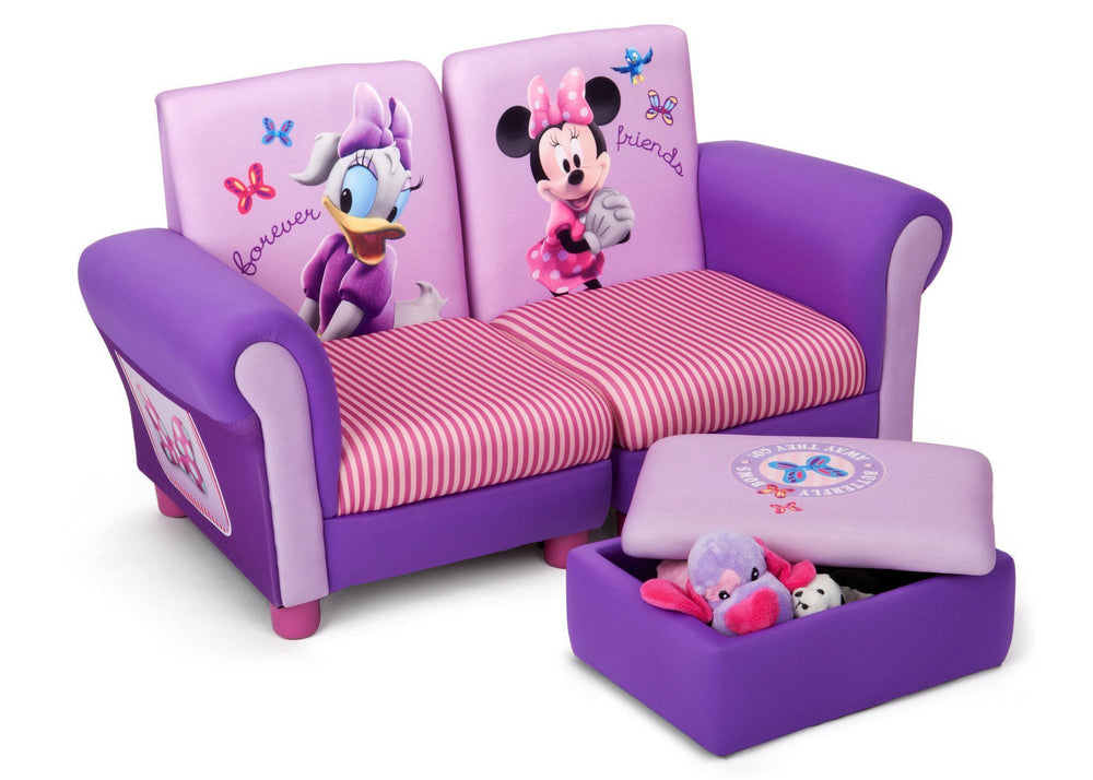 Delta Children Minnie Mouse Upholstered 3 Piece Set Right Side View with Storage Option