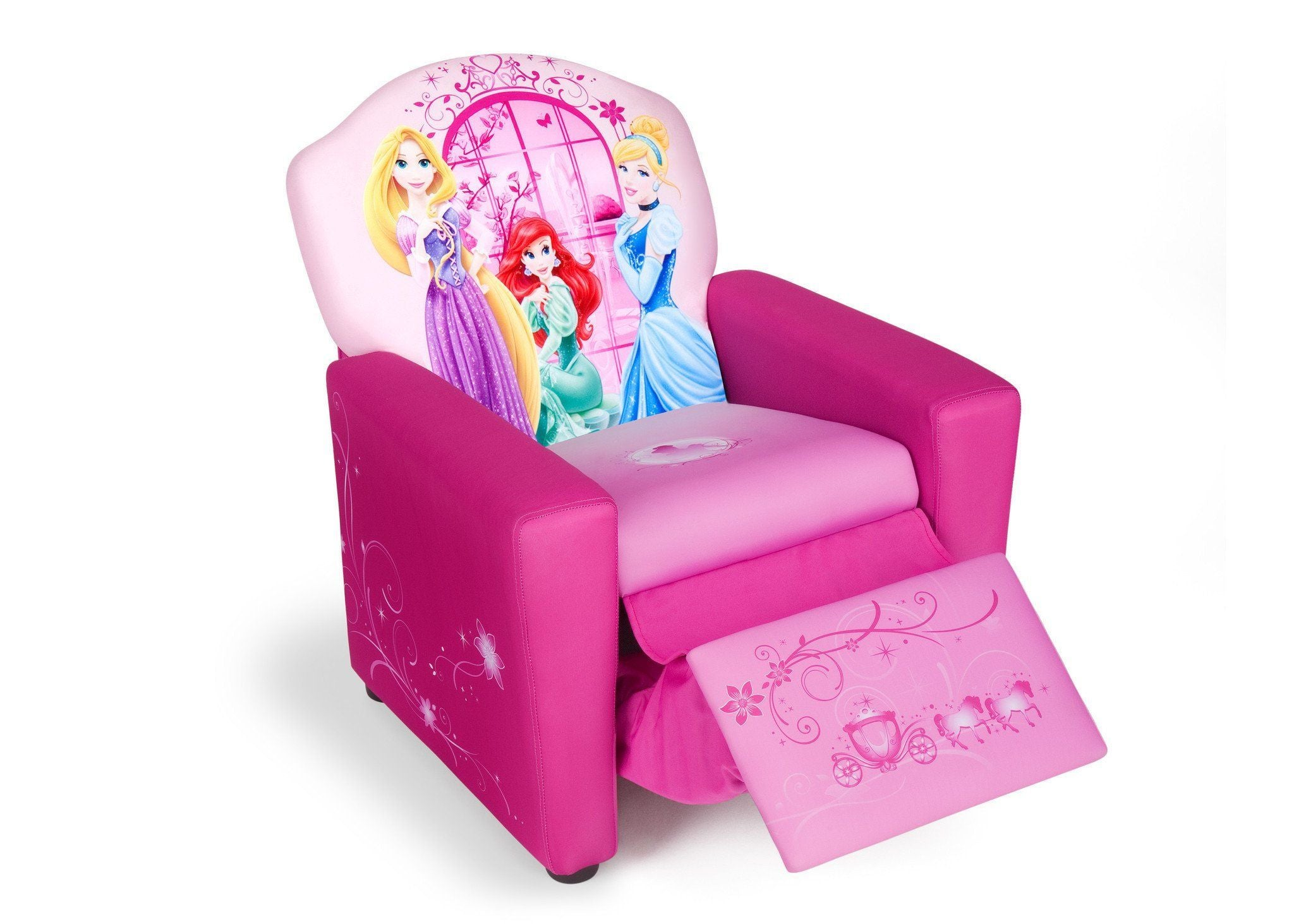 ... Delta Children Style 1 Princess Upholstered Recliner Chair, Right View  With Footrest Option A2a ...