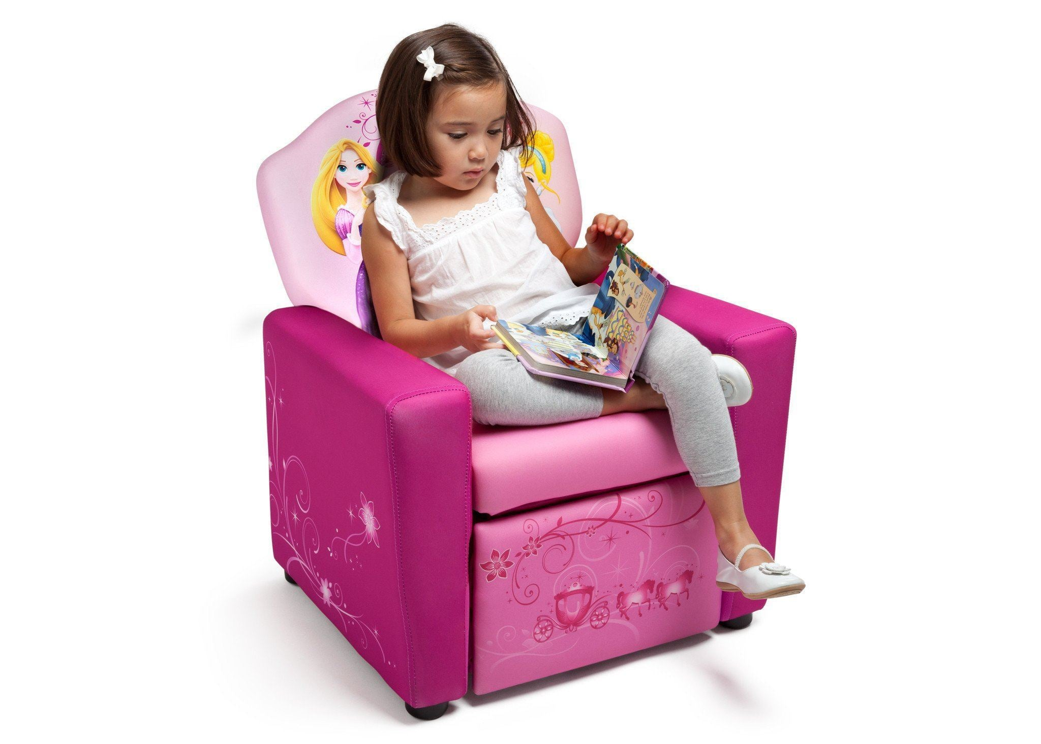 ... Delta Children Style 1 Princess Upholstered Recliner Chair, Right View  With Model A3a
