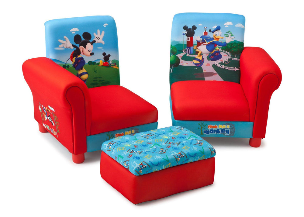 Delta Children Mickey Mouse 3 Piece Upholstered Chair Right View with Separated Chairs a3a