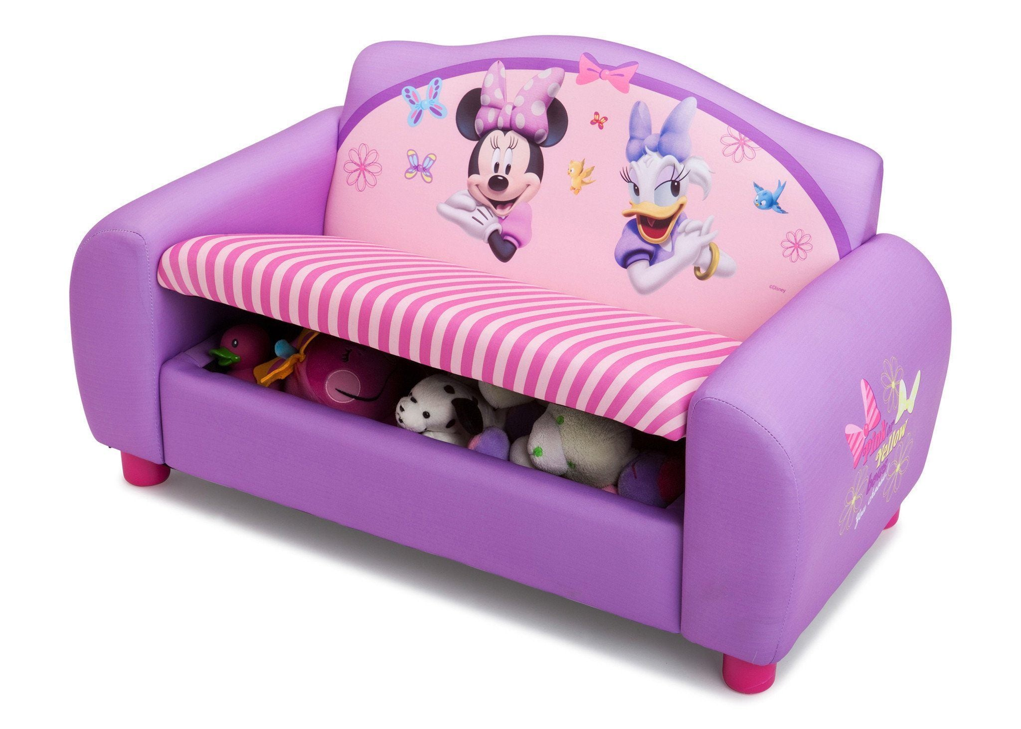 ... Delta Children Minnie Mouse Upholstered Sofa Left Side View With Storage  Option A2a