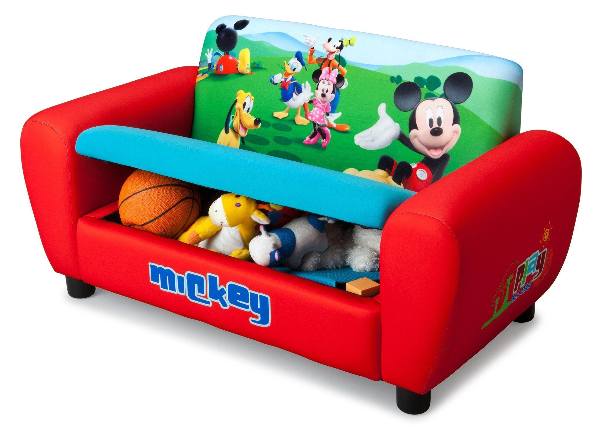 ... Delta Children Mickey Mouse Upholstered Sofa Left Side View With  Storage Option A2a