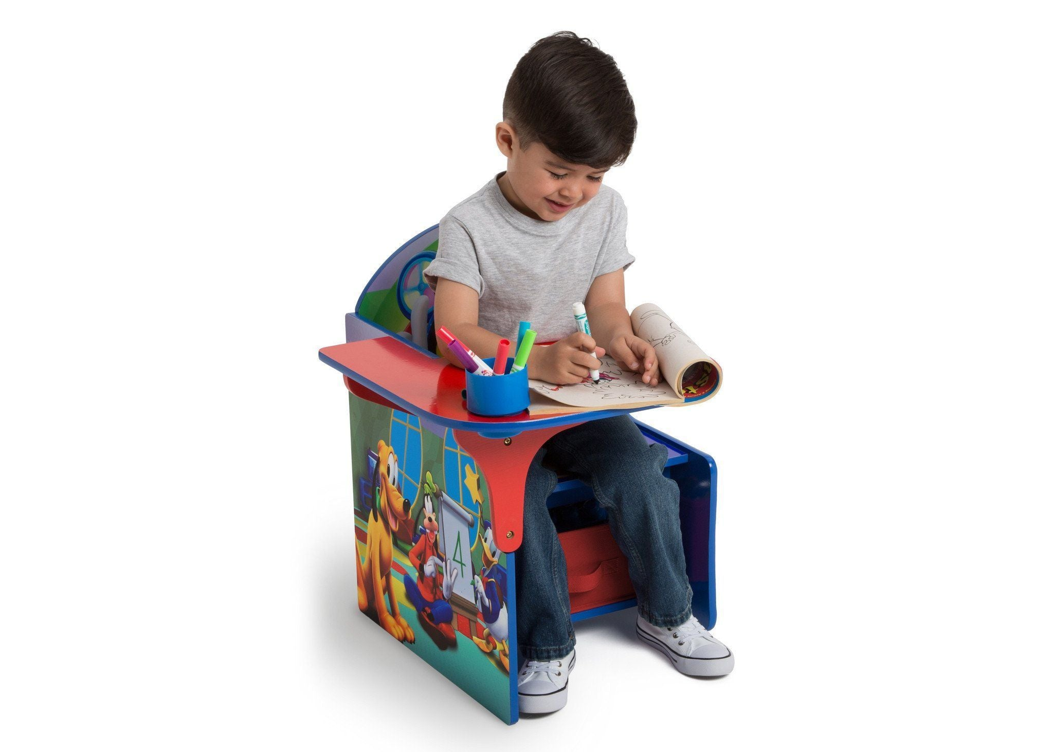 ... Delta Children Mickey Mouse Chair Desk With Storage Bin, Left View With  Model A3a