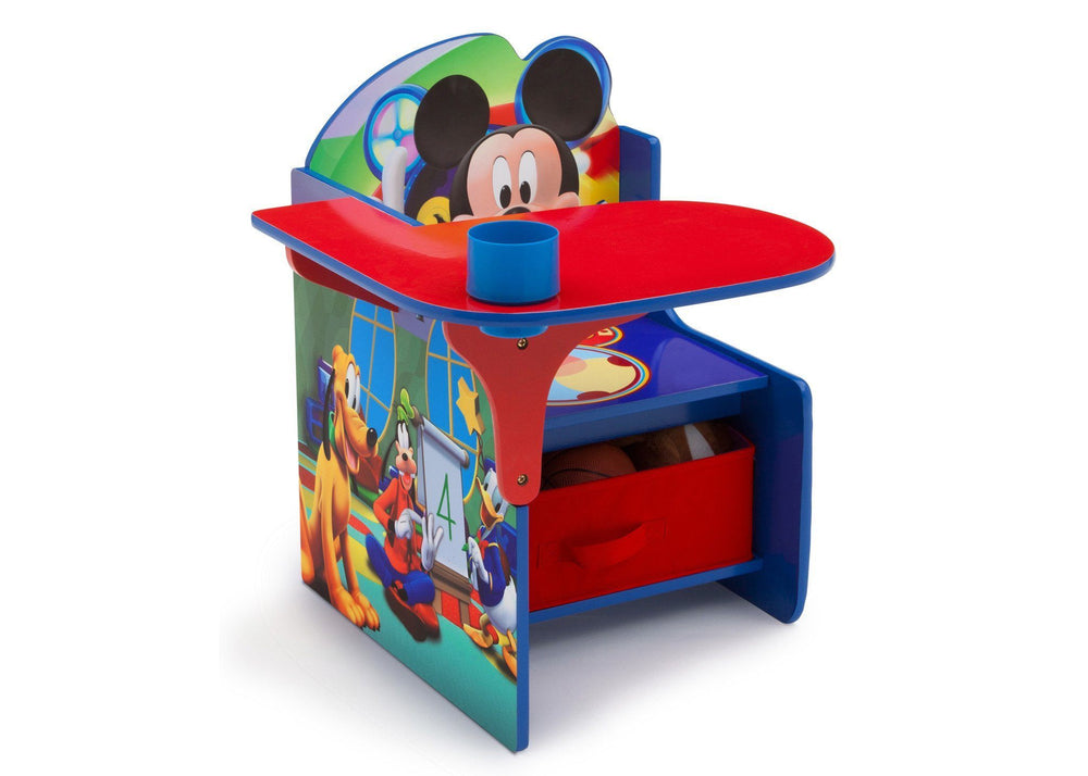 Delta Children Mickey Mouse Chair Desk with Storage Bin, Right View with Props