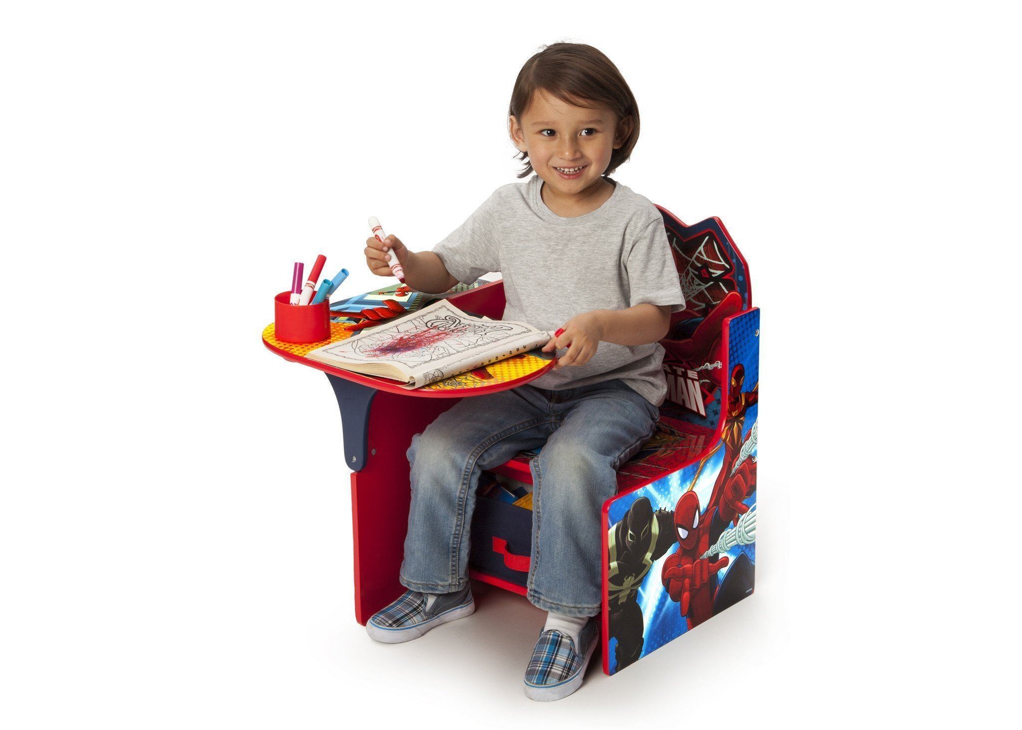 Delta Children Spider-Man Chair Desk, Left View with Model a4a Style-1 (1163) Spider-Man (1163)