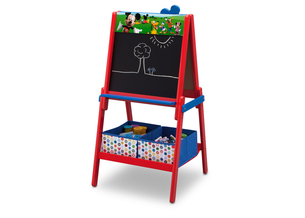 Disney Mickey Mouse Wooden Double Sided Easel with Storage by Delta Children, Chalkboard Left Silo View