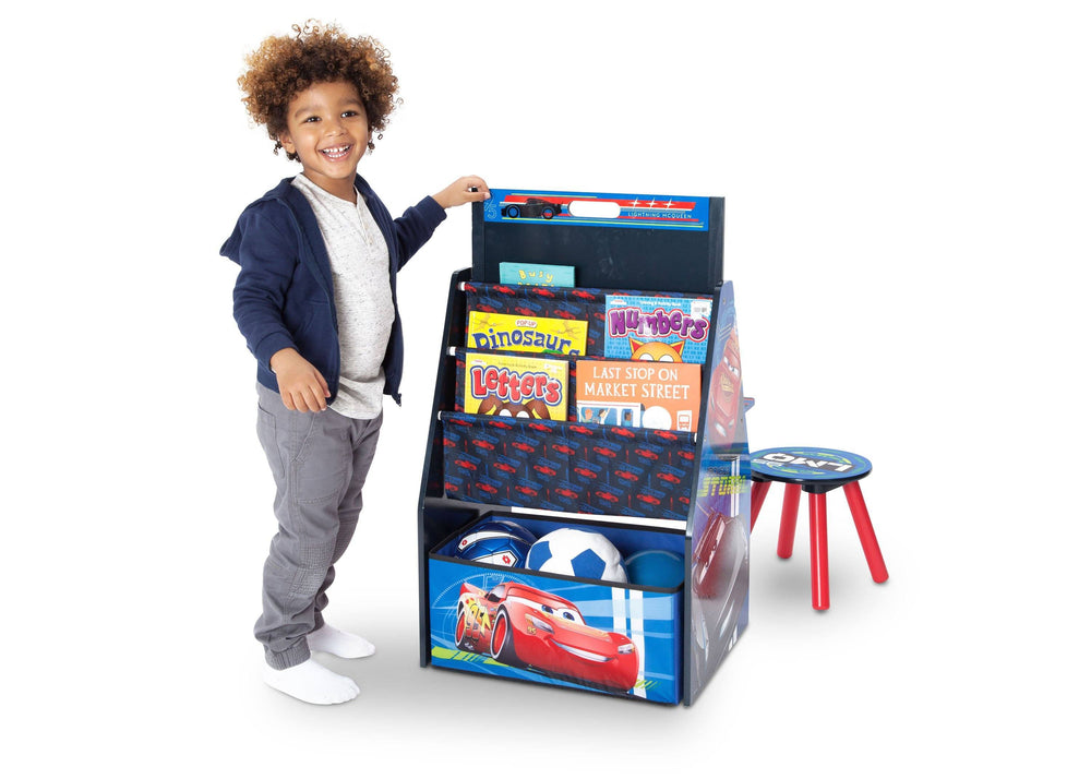 Delta Children Cars Activity Center - Easel Desk with Stool & Toy Organizer Toy Organizer View with Model a4a