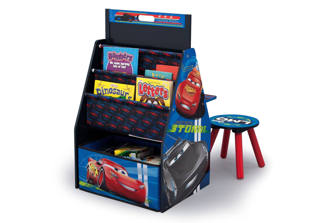 Delta Children Cars Activity Center - Easel Desk with Stool & Toy Organizer Left View Toy Organizer a2a