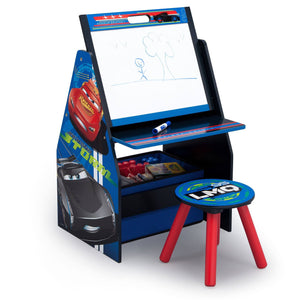 Delta Children Cars Activity Center - Easel Desk with Stool & Toy Organizer Right View Easel Desk a1a
