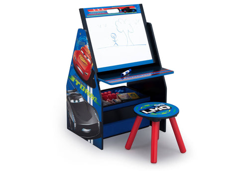 Cars Activity Center - Easel Desk with Stool & Toy Organizer