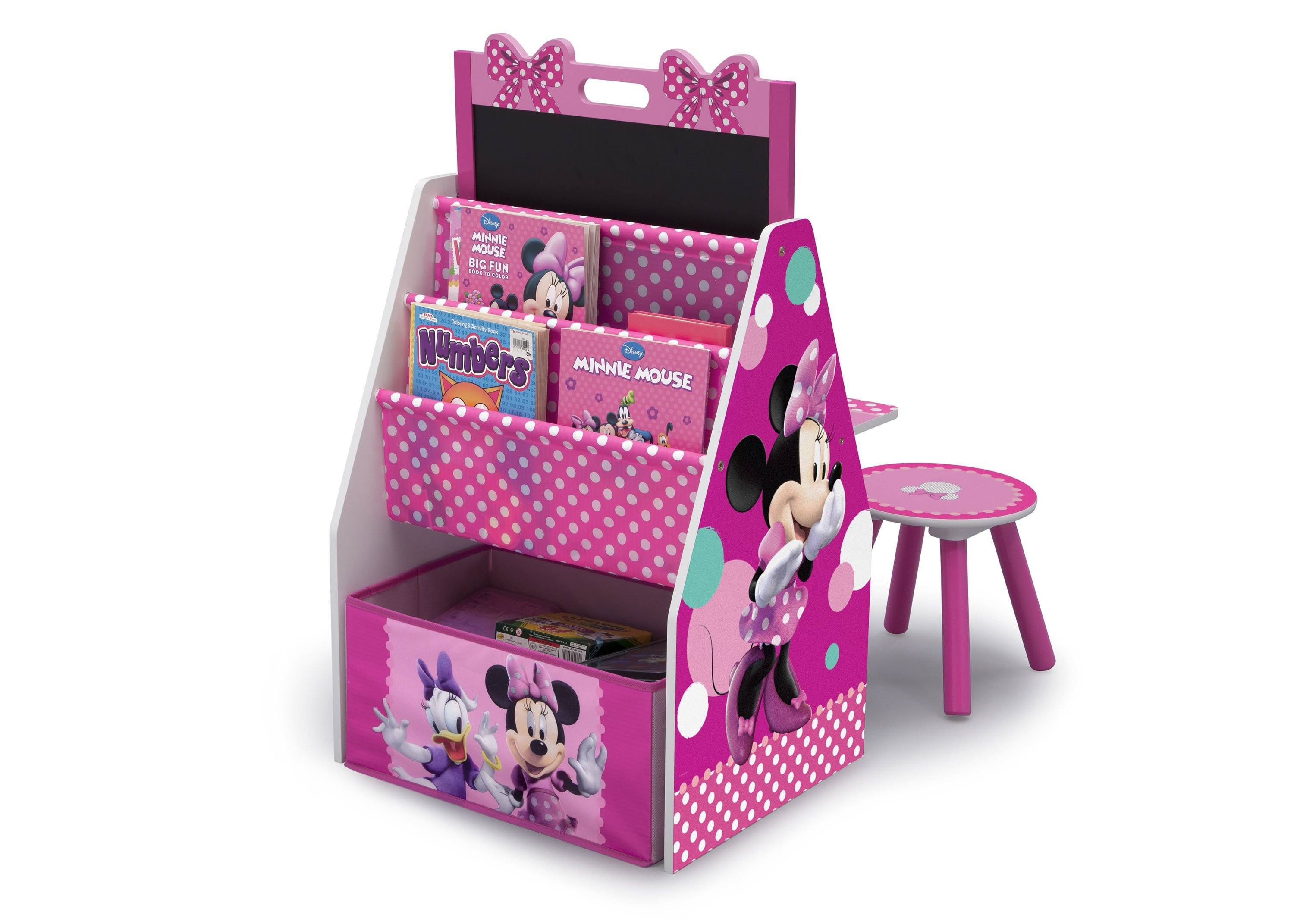 ... Delta Children Minnie Mouse Activity Center   Easel Desk With Stool U0026 Toy  Organizer Left View ...