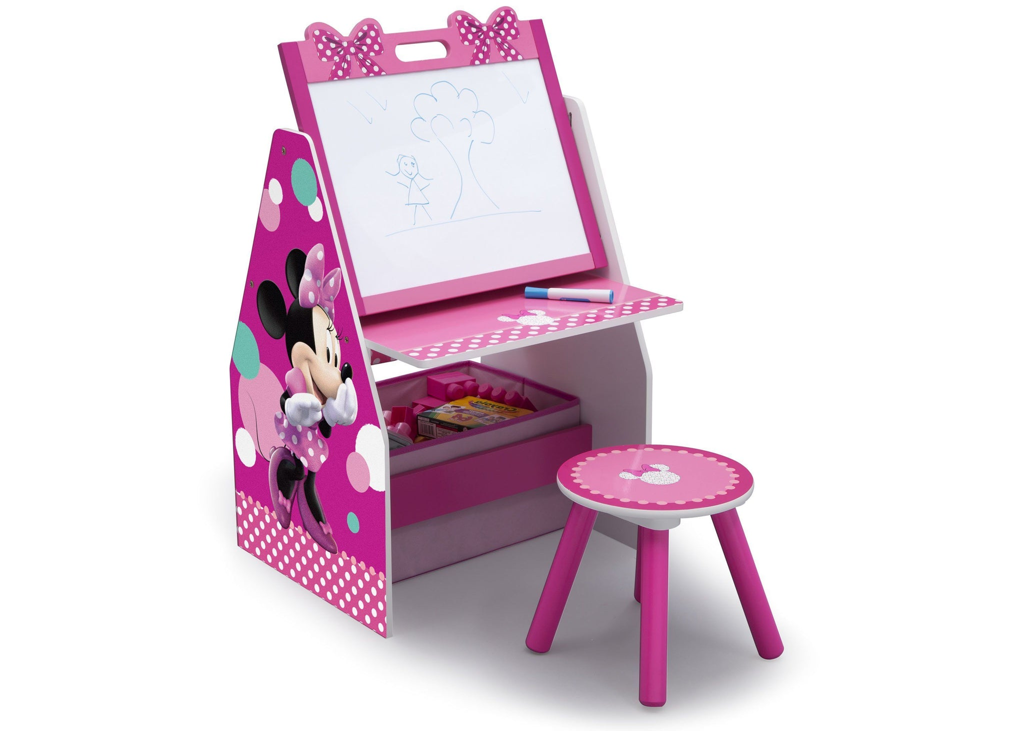Delta Children Minnie Mouse Activity Center - Easel Desk with Stool & Toy Organizer Right View Easel Desk a1a