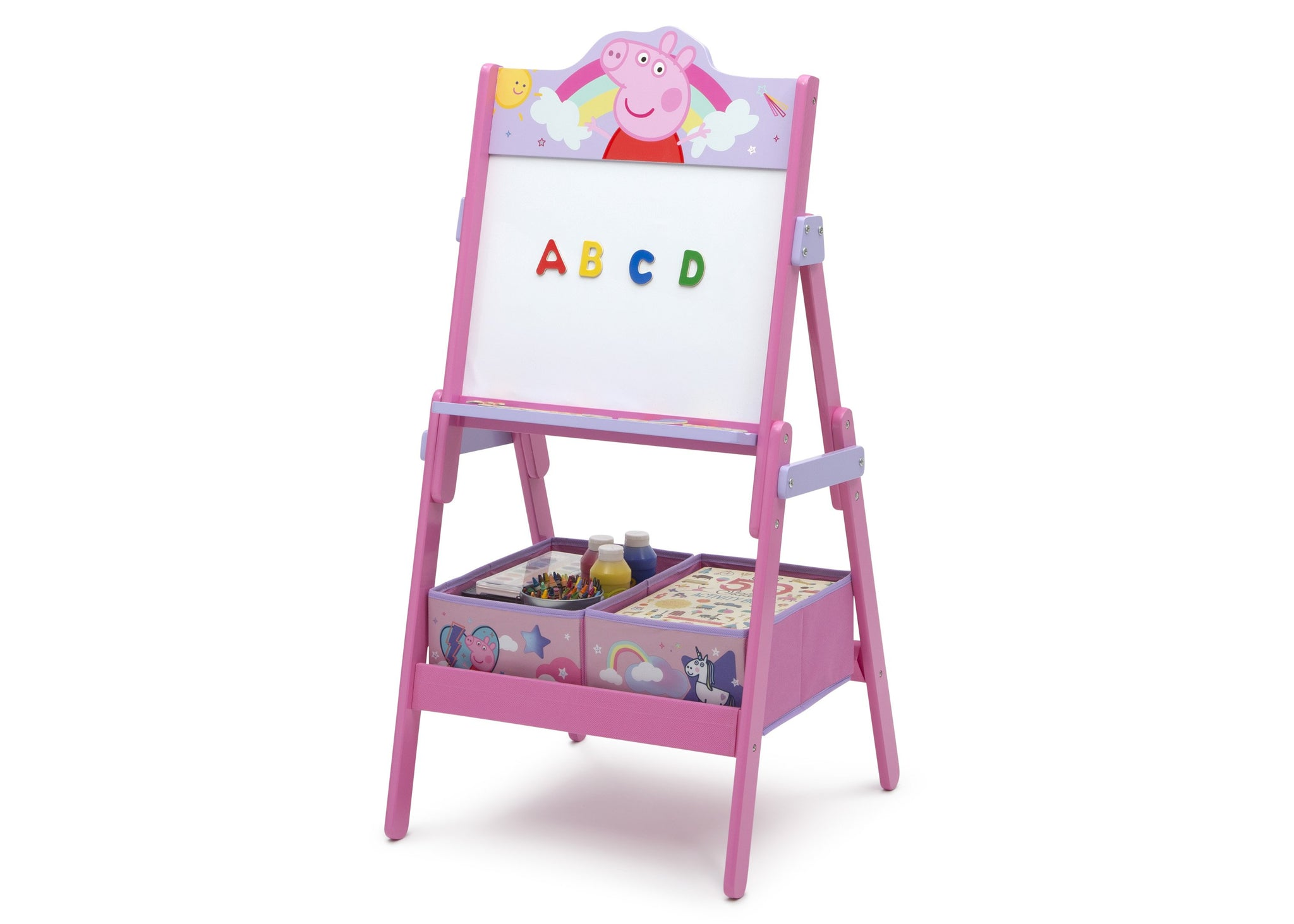 Delta Children Peppa Pig (1171) Wooden Activity Easel with Storage, Left Silo View