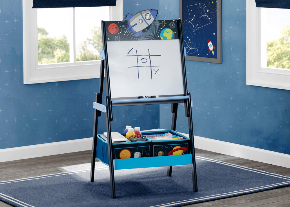 Delta Children Space Adventures (1223) Wooden Activity Easel with Storage, Hangtag View