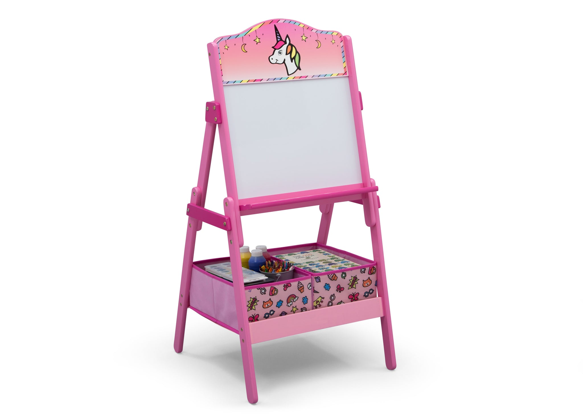 Delta Children Rainbow Dreams (1221) Wooden Activity Easel with Storage, Right Silo View