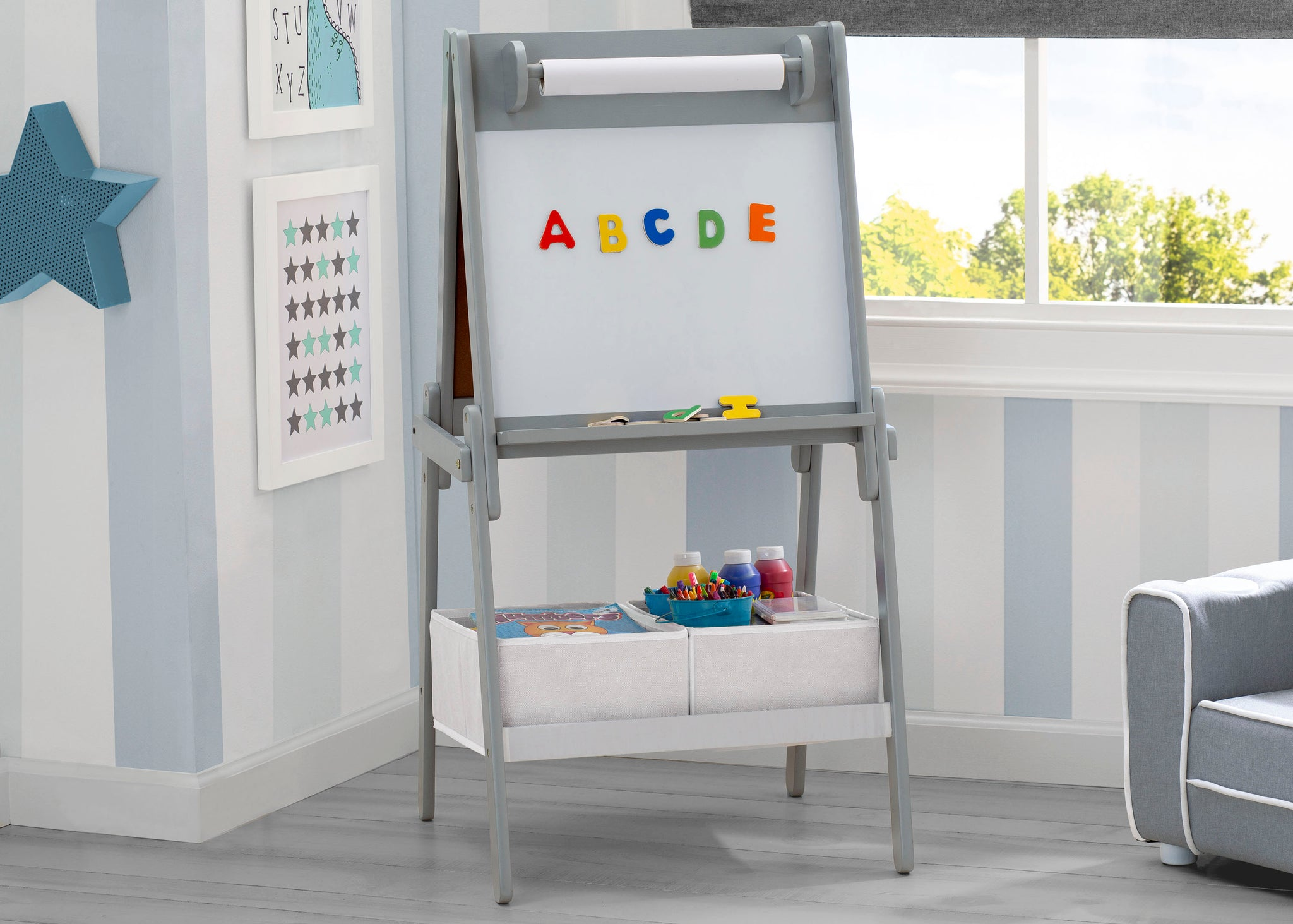 Chelsea Double-Sided Storage Easel with Paper Roll and Magnets | Dry Erase Surface & Chalkboard Surface